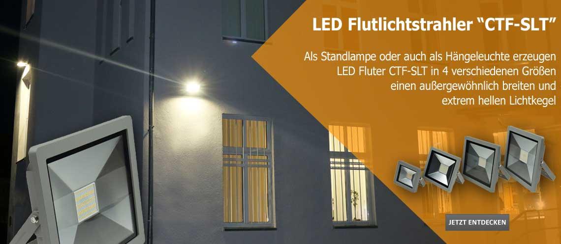 LED Fluter CTF-SLT erzeugen einen breiten und hellen Lichtkegel
