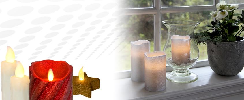 LED wax candles, pillar candles, candle sticks, tea lights