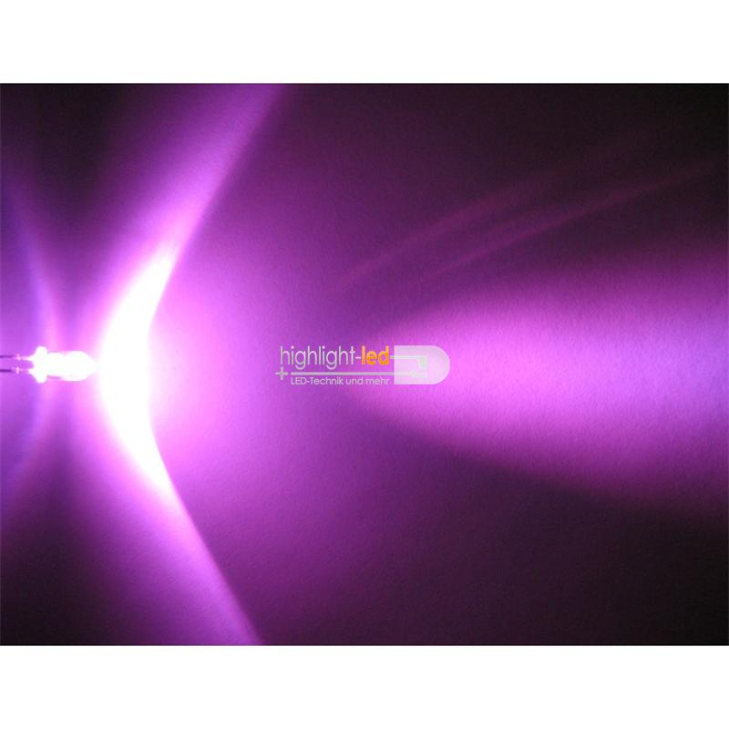 10 LEDs 5mm wasserklar pink superhell SET