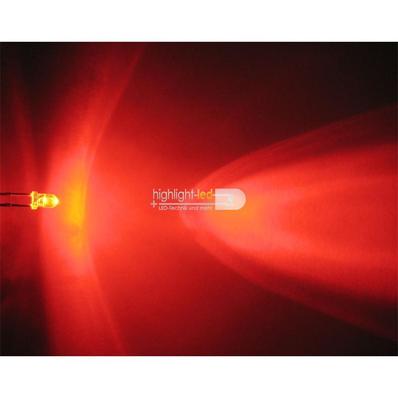"10 LEDs 3mm wasserklar rot Typ ""WTN-3-500r"""
