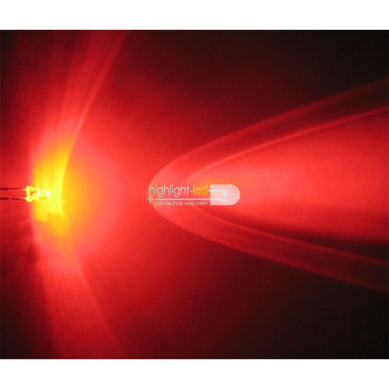 "20 LEDs 3mm wasserklar rot Typ ""WTN-3-7000r"""