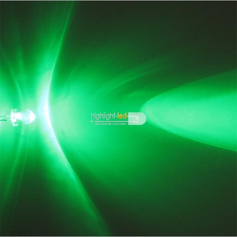 """10 LED 8mm wasserklar grün Typ """"WTN-8-11000gr"""""""