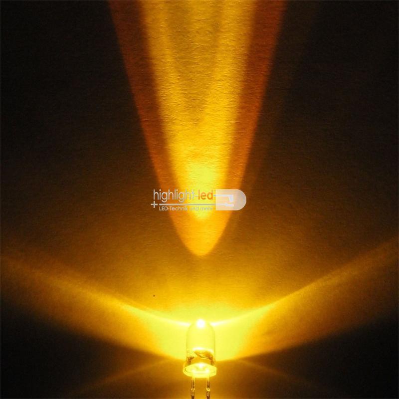 10 LEDs 5mm wasserklar blinkend gelb SET