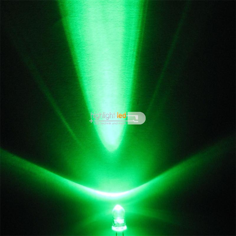 10 LEDs 5mm wasserklar blinkend grün SET