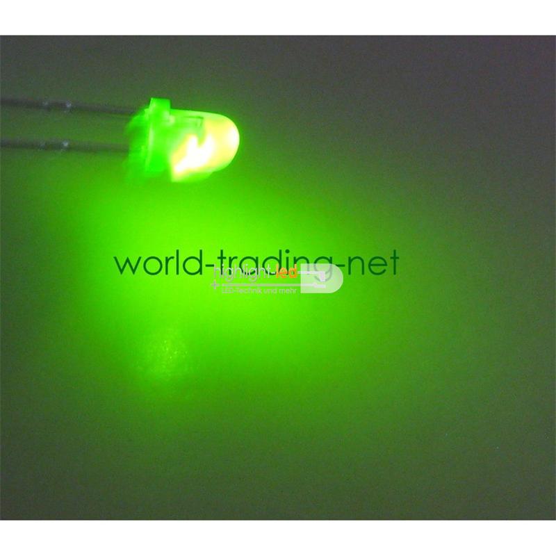 10 LED 3mm diffus blinkend grün