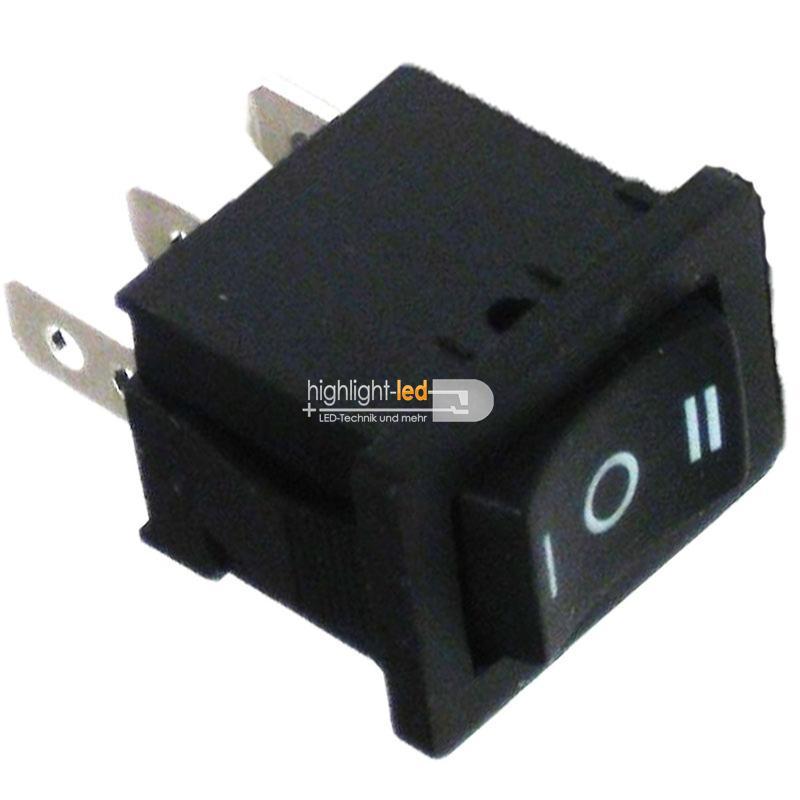 Wippenschalter 1-polig EIN/AUS/EIN ECKIG Schalter