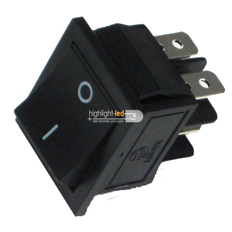Wippenschalter 2-polig EIN/AUS 250V/6A ECKIG