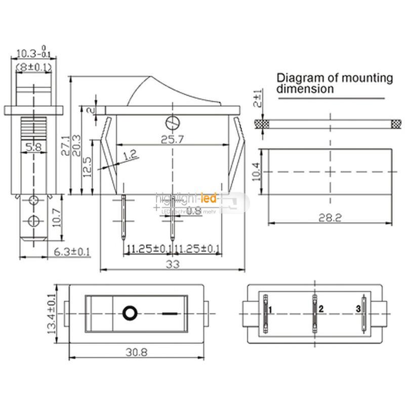 Wippenschalter 1-polig EIN/AUS 250V/6A Schalter