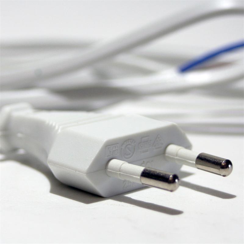 Euro-Netzkabel 1,5m weiß 2polig Kabel & Stecker
