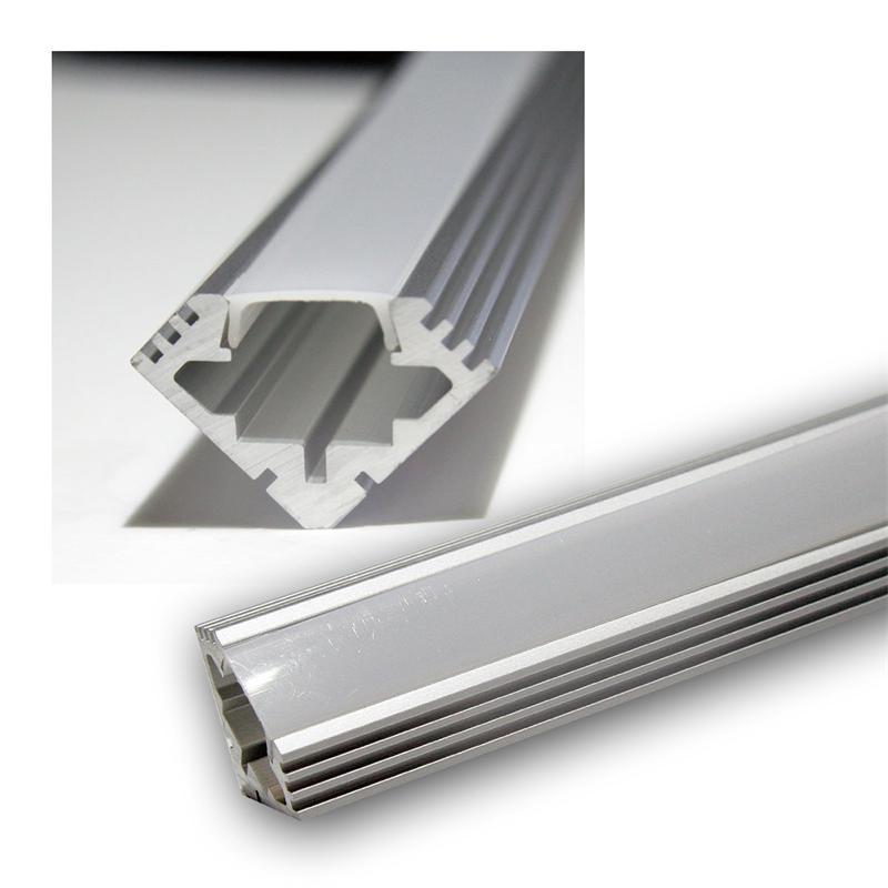 1m led aluminium profil pl eck eloxiert opal. Black Bedroom Furniture Sets. Home Design Ideas