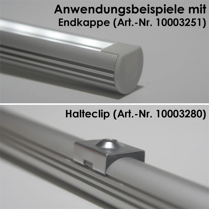 LED aluminum profile PL-OVAL | 1m, anodized, Opal