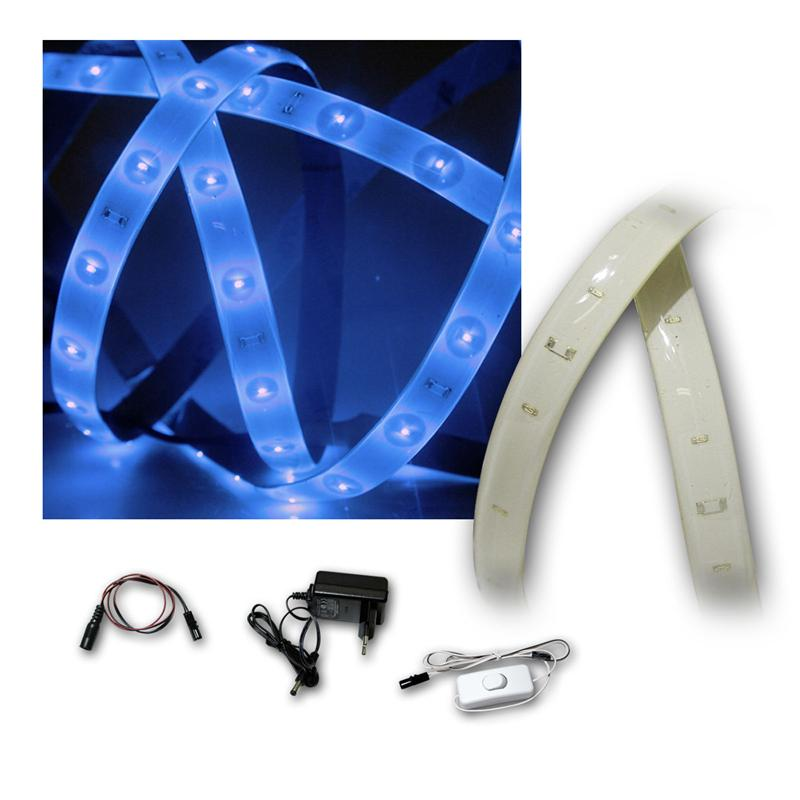 lichtband set blau 1 2m pcb wei 60 smd leds. Black Bedroom Furniture Sets. Home Design Ideas