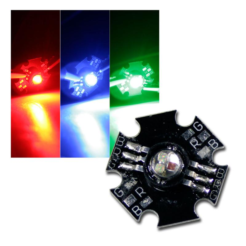 1 high power LED 3W, RGB, on PCB, red, green, blue