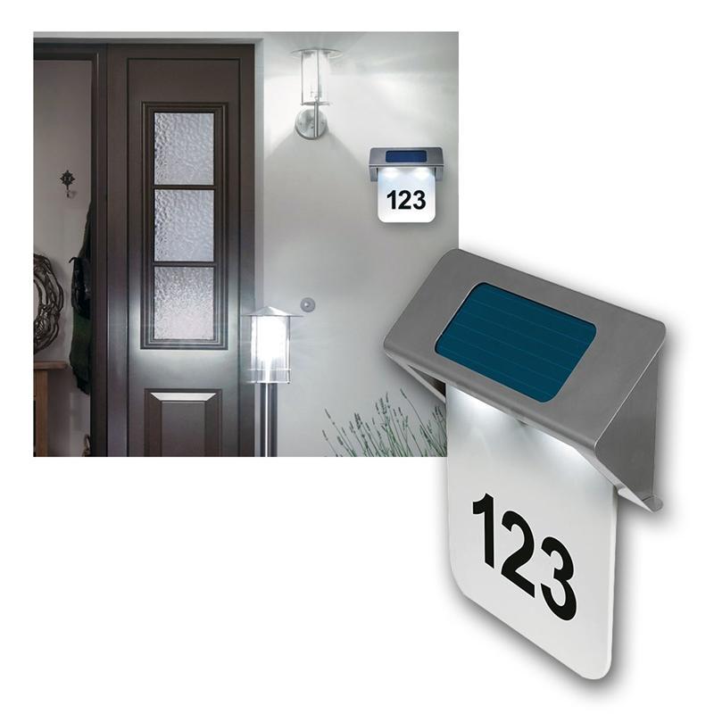 solar led hausnummernleuchte nelson edelstahl ip44. Black Bedroom Furniture Sets. Home Design Ideas