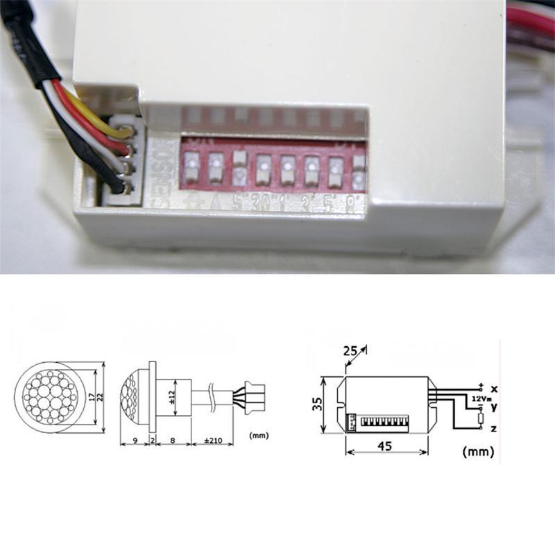 Mini Pir Bewegungsmelder Zum Einbau 12v Dc 2 6a