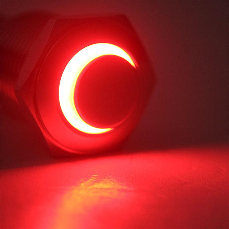 Druck-Schalter Metall, 230V/3A, Beleuchtung Rot