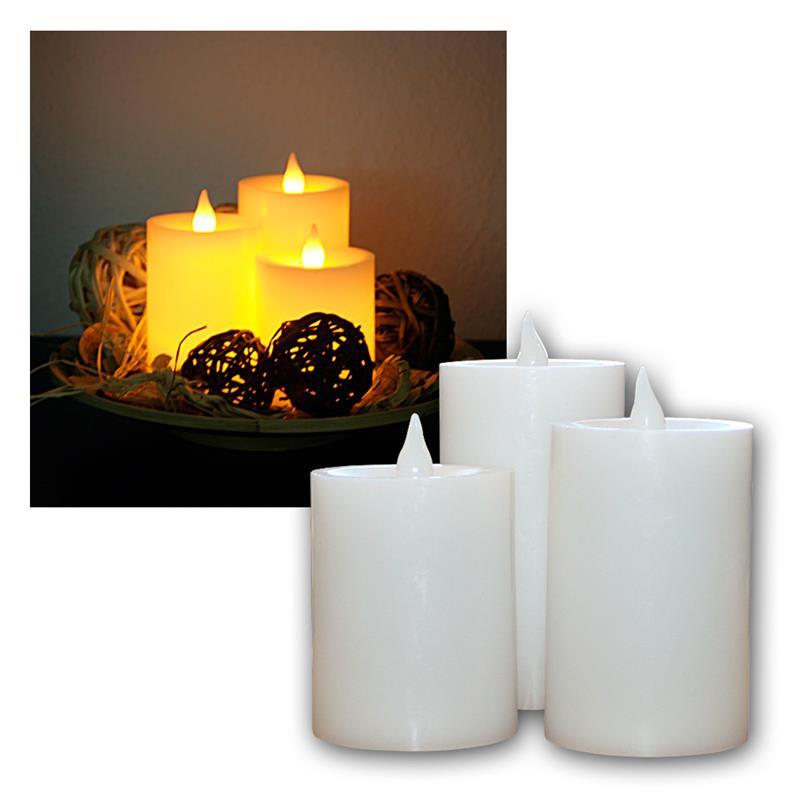3er set led echtwachs kerzen mit licht sensor highlight led. Black Bedroom Furniture Sets. Home Design Ideas