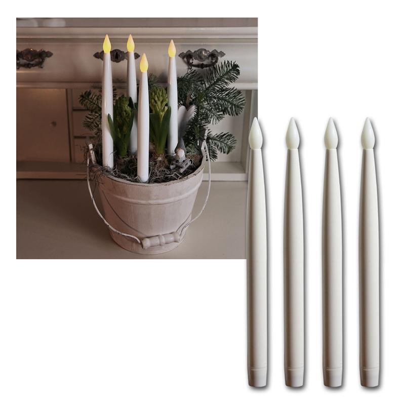 4er set led stab kerzen kunststoff wei 29x2 5cm. Black Bedroom Furniture Sets. Home Design Ideas