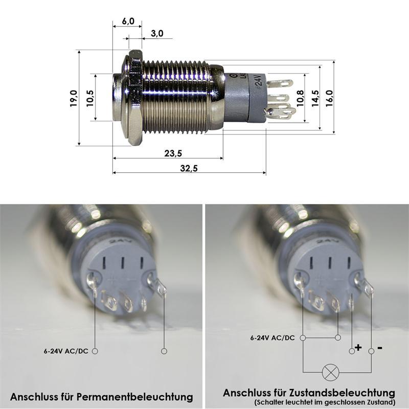 Druckschalter mit LED Beleuchtung Gelb Schalter Ein-Aus Schalter