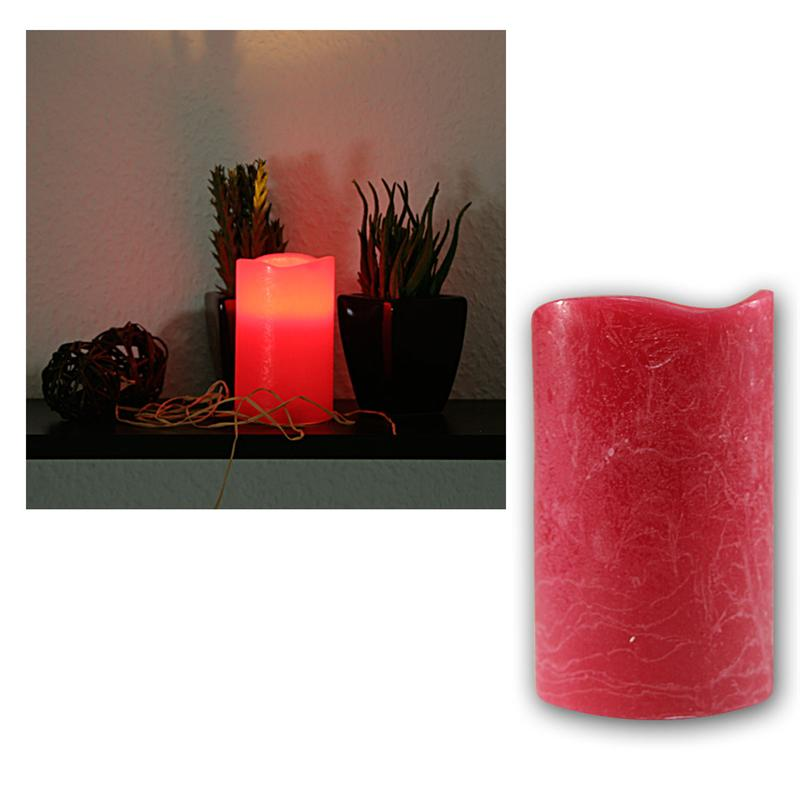 LED candle in red, 12,5x7,5cm