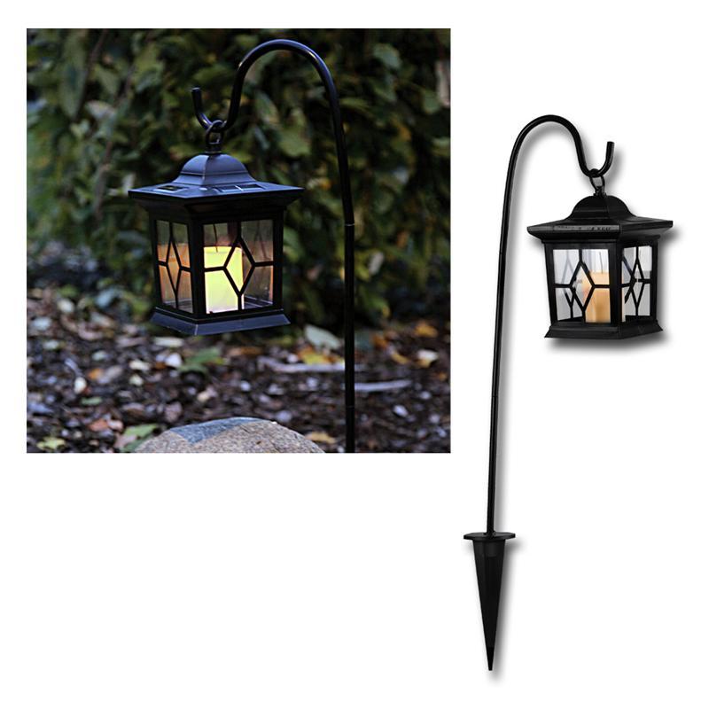 led lantern with solar candle flickering 58cm high. Black Bedroom Furniture Sets. Home Design Ideas