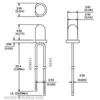 Abmessungen der 3mm diffusen LEDs