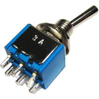 Miniature toggle switch with solder lugs | 2-pole, 125V/3A