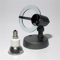 LED Strahler aus Kunststoff und E14 LED Leuchtmittel