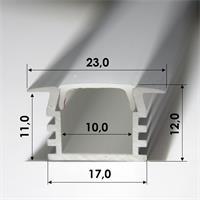 1m langes Aluminium-Profil, 12mm hoch