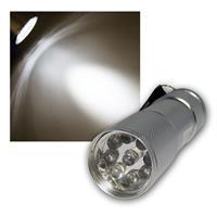 Mini LED Taschenlampe mit 9 LEDs - Alu Silber