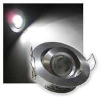 LED Einbaustrahler | Aluminium | rund | pur-weiß | 12V/3W