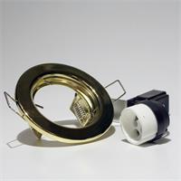 messingfarbiger Deckeneinbaurahmen mit Keramik-Halogen-Lampenfassung