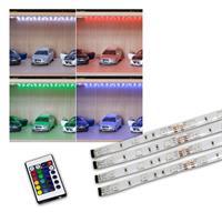 4er Set LED-Stripes mit steuerbarem Farbwechsler