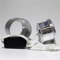 12V LED Wandeinbauleuchte rund in einem gebürstetem Aluminiumgehäuse