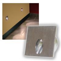Alu Wandeinbau-Strahler 50x50mm 1W LED warmweiß