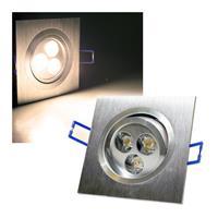 Alu LED-Einbauleuchte, eckig, 3x3W warmweiß, 230V