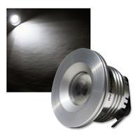 Einbaustrahler 3W LED purweiß 12V, Aluminium