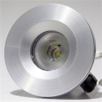 12V LED Leuchtmittel rund in einem silber glänzendem Aluminiumgehäuse