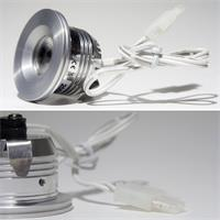 LED Strahler 12V mit ca. 35mm Einbau-Ø und 2poligen Kunststoffsteckverbinder
