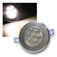 Alu LED-Einbauleuchte, rund, 7x1W daylight, 230V