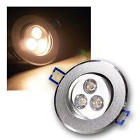 Alu LED-Einbauleuchte, rund, 3x1W warmweiß, 230V