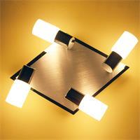 LED Deckenleuchte mit zylinderförmigen Strahlern aus weißem Glas