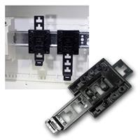 DIN rail holder universal, black plastic