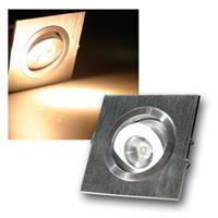 """LED-Einbauleuchte """"QD-1"""" 1W 80lm, ECKIG, warmweiß"""