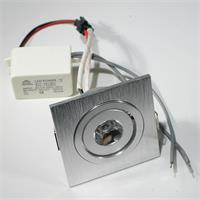 LED Alu-Einbaustrahler komplett mit kleinem LED-Trafo zum direkten Anschluss an 230V