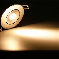 LED Einbauspot mit 1x ultrastarken Hochleistungs-LED und ca. 80lm Lichtstrom