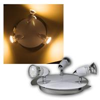 1 spotlight, chrome/white design with 3 lights, 23