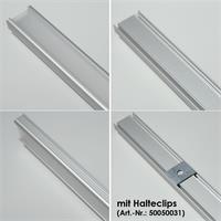 Eloxiertes LED U-Aluprofil mit satinierter Abdeckung