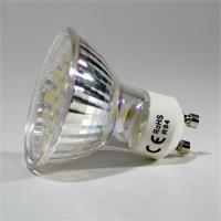 GU10 LED Leuchte mit dem Maß 50x55mm (ØxL) und abschließender Front mit Glas-Cover