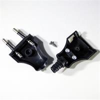 230V Stecker mit Zugentlastung und Schraubklemmen